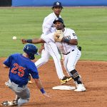 San Antonio Missions second baseman Eguy Rosario turns a double play after getting the ball from shortstop CJ Abrams. The Missions beat the Midland RockHounds 4-2 Tuesday night at Wolff Stadium. - photo by Joe Alexander