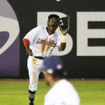 The San Antonio Missions' Esteury Ruiz makes a catch in left field. The Missions beat the Midland RockHounds 4-2 Tuesday night at Wolff Stadium. - photo by Joe Alexander
