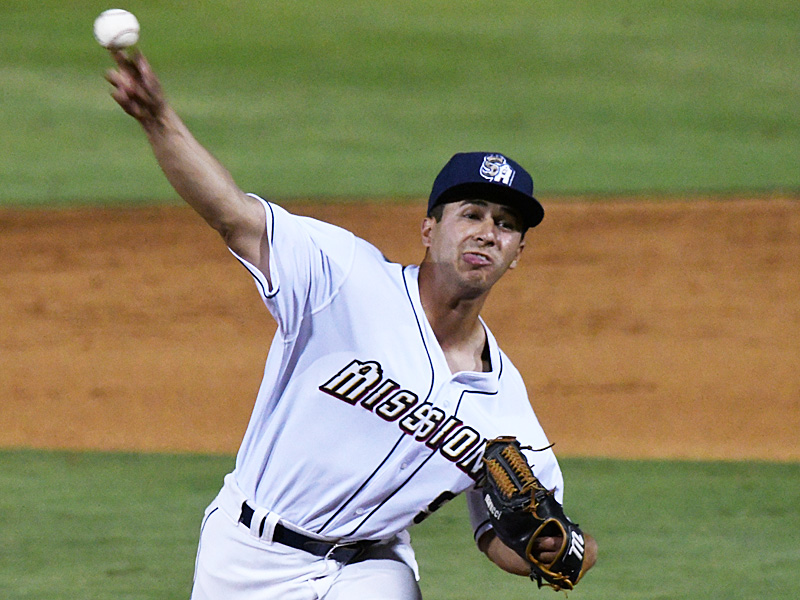 San Antonio Missions closer Jose Quezada pitches the ninth inning to earn his fifth save of the season. The Missions beat the Midland RockHounds 4-2 Tuesday night at Wolff Stadium. - photo by Joe Alexander