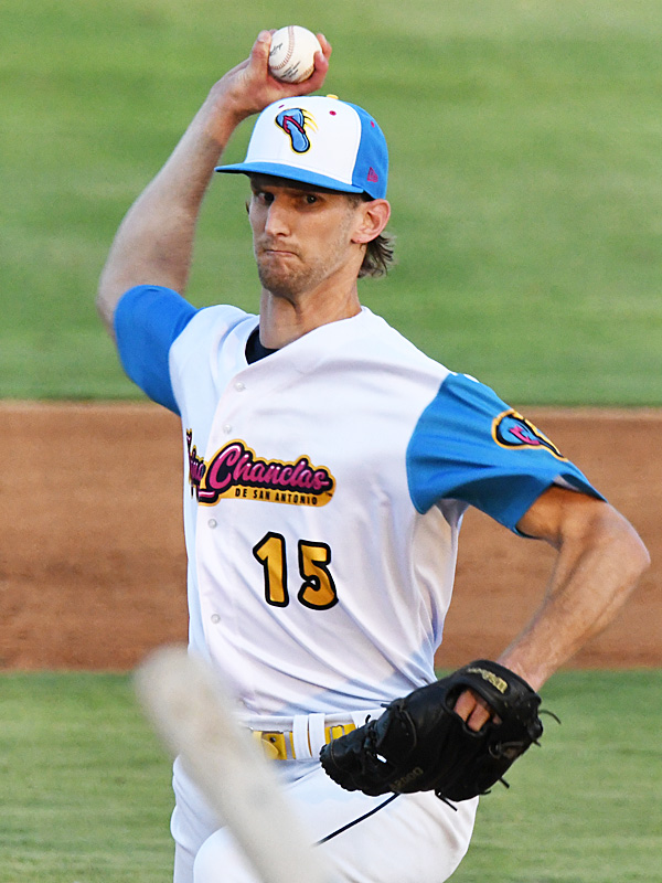 San Antonio Missions starting pitcher Caleb Boushley held the Midland RockHounds scoreless through the first five innings on Thursday at Wolff Stadium. - photo by Joe Alexander