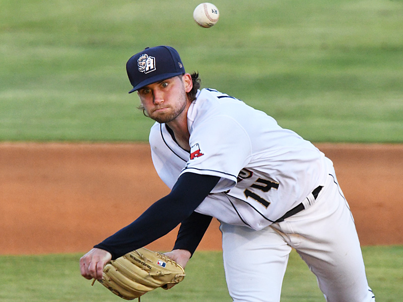 San Antonio Missions starter Aaron Leasher pitched six innings and got the win in Saturday's victory over the Midland RockHounds at Wolff Stadium. - photo by Joe Alexander