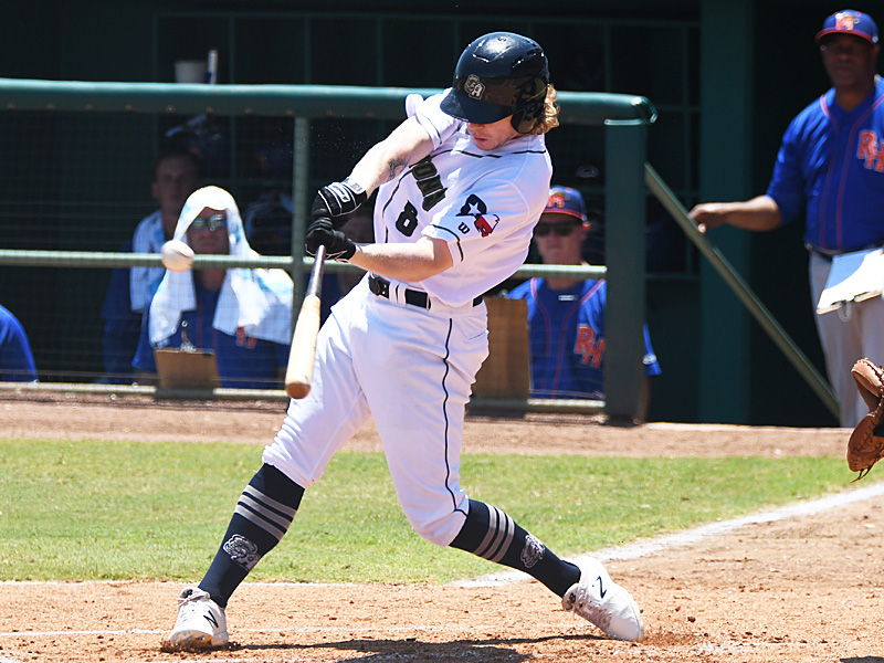 Jack Suwinski hits his ninth home run of the season in the second inning on Sunday at Wolff Stadium. He homered again in the eighth inning. - photo by Joe Alexander