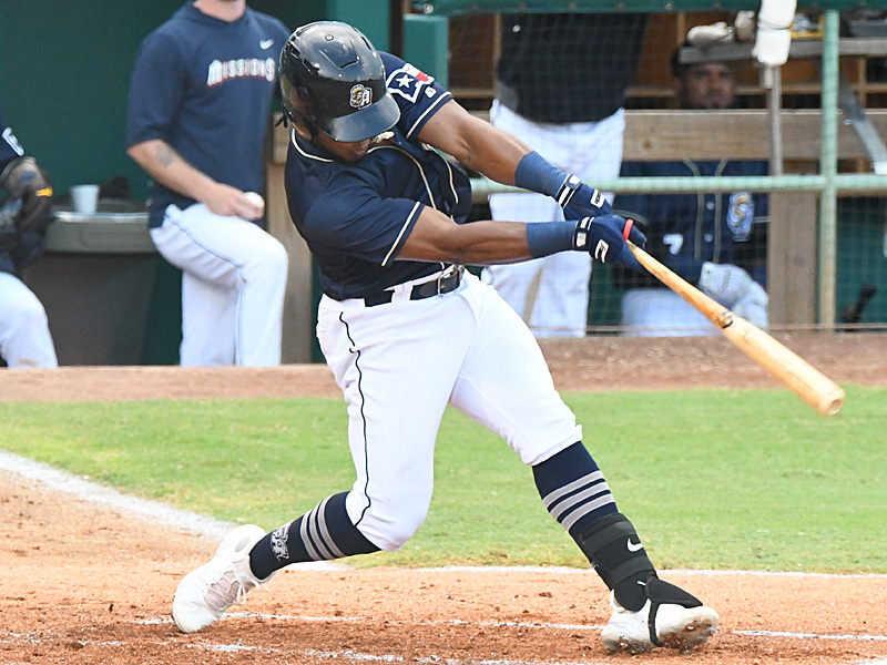 The San Antonio Missions' Eguy Rosario had two hits and scored twice. The Missions beat the Northwest Arkansas Naturals 5-3 on Tuesday, June 15, 2021, at Wolff Stadium. - photo by Joe Alexander