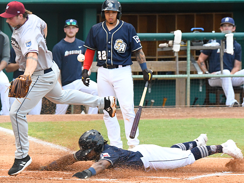Eguy Rosario slides into home to score the San Antonio Missions' first run of the game. The Missions beat the Northwest Arkansas Naturals 5-3 on Tuesday, June 15, 2021, at Wolff Stadium. - photo by Joe Alexander