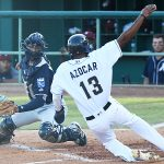 Jose Azocar scores the San Antonio Missions' first run of the game. The Missions lost to the Northwest Arkansas Naturals 3-2 Wednesday at Wolff Stadium. - photo by Joe Alexander