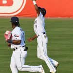 San Antonio Missions shortstop CJ Abrams catches a short fly ball behind second base. The Missions beat the Northwest Arkansas Naturals 14-6 Friday at Wolff Stadium. - photo by Joe Alexander
