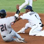 San Antonio Missions second baseman Eguy Rosario tags out Northwest Arkansas' Dennicher Carrasco trying to steal second. The Missions beat the Northwest Arkansas Naturals 14-6 Friday at Wolff Stadium. - photo by Joe Alexander