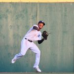 Jose Azocar made an over-the-shoulder catch on a long fly ball in straightaway center field. The San Antonio Missions beat the Northwest Arkansas Naturals 6-5 on Saturday at Wolff Stadium. - photo by Joe Alexander