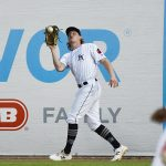 Jack Suwinski makes a catch on the warning track in right field. The San Antonio Missions beat the Northwest Arkansas Naturals 6-5 on Saturday at Wolff Stadium. - photo by Joe Alexander