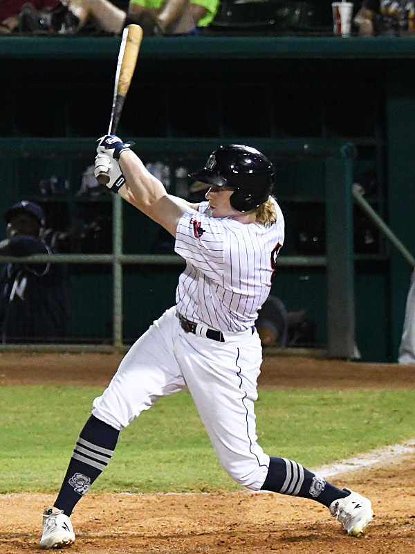 San Antonio Missions left fielder Jack Suwinski drove in two runs including the game-winner in the bottom of the seventh in a 6-5 win over the Northwest Arkansas Naturals on Saturday at Wolff Stadium. - photo by Joe Alexander