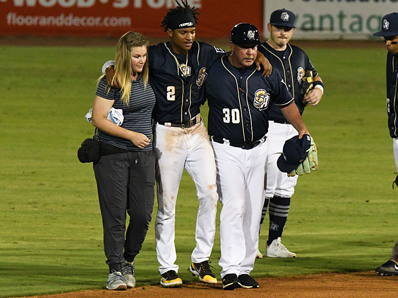 San Antonio Missions shortstop CJ Abrams is helped off the field in the ninth inning Wednesday night, June 30, 2021, at Wolff Stadium. - photo by Joe Alexander