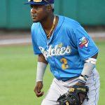 Geraldo Perdomo of the Amarillo Sod Poodles playing against the San Antonio Missions on Wednesday, July 7, 2021, at Wolff Stadium. He is the No. 3 prospect in the Arizona Diamondbacks organization. - photo by Joe Alexander