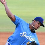 Luis Frias of the Amarillo Sod Poodles pitching against the San Antonio Missions on Wednesday, July 7, 2021, at Wolff Stadium. He is the No. 9 prospect in the Arizona Diamondbacks organization. - photo by Joe Alexander