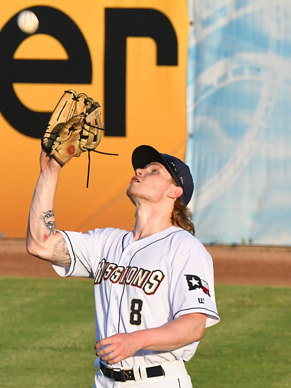 San Antonio Missions outfielder Jack Suwinski playing against the Midland RockHounds on June 12, 2021, at Wolff Stadium. - photo by Joe Alexander