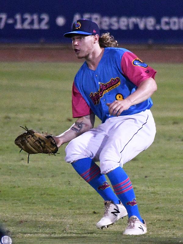 San Antonio Missions outfielder Jack Suwinski playing against the Corpus Christi Hooks on July 1, 2021, at Wolff Stadium. - photo by Joe Alexander