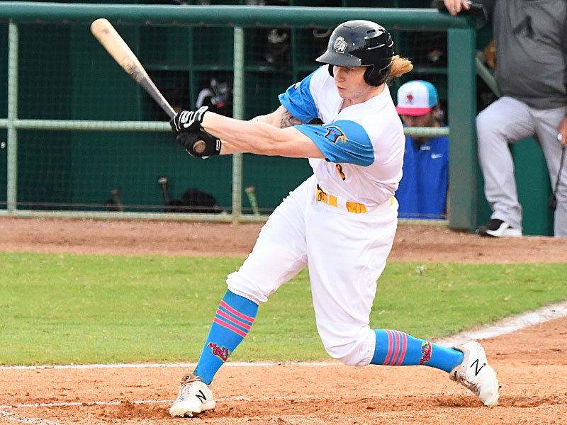 San Antonio Missions outfielder Jack Suwinski playing against the Amarillo Sod Poodles on July 8, 2021, at Wolff Stadium. - photo by Joe Alexander