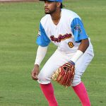 Jalen Battles of the Flying Chanclas de San Antonio in Tuesday's 10-9 victory over the Brazos Valley Bombers at Wolff Stadium. - photo by Joe Alexander