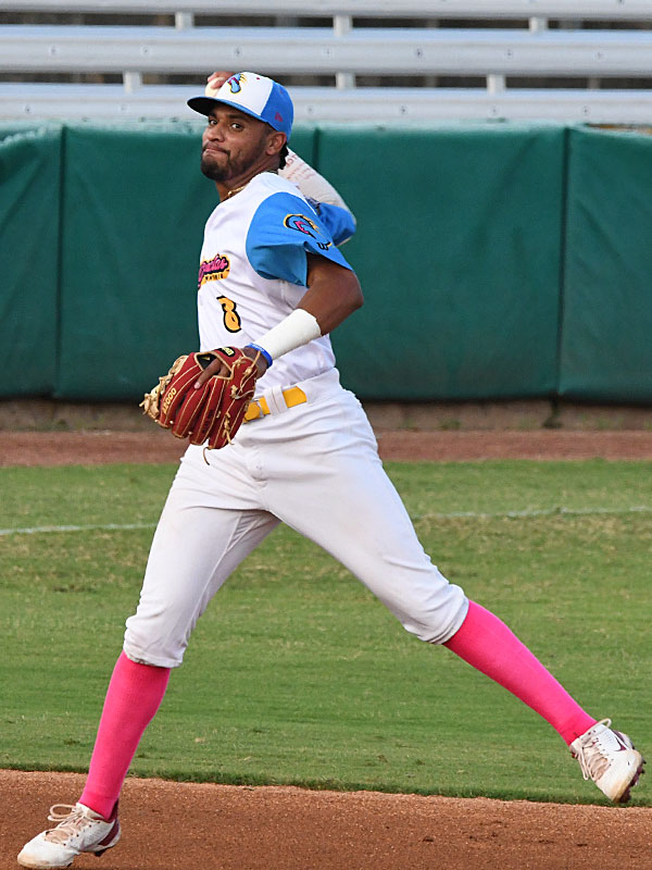 Jalen Battles playing shortstop for the Flying Chanclas de San Antonio in Tuesday's 10-9 victory over the Brazos Valley Bombers at Wolff Stadium. - photo by Joe Alexander