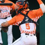 Corpus Christi Hooks catcher Korey Lee, the Houston Astros' No. 5 prospect, playing against the San Antonio Missions on June 30, 2021, at Wolff Stadium. - photo by Joe Alexander