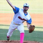 Luke Malone from UTSA pitching for the Flying Chanclas de San Antonio on Wednesday at Wolff Stadium. - photo by Joe Alexander