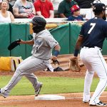 Pedro Leon of the Corpus Christi Hooks, a top Houston Astros prospect, playing against the San Antonio Missions on July 4, 2021, at Wolff Stadium. - photo by Joe Alexander