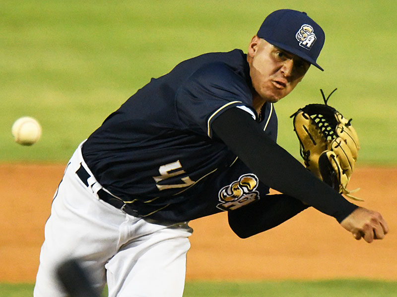 Adrian Martinez started on the mound for the Missions and held the Hooks hitless for six innings Friday at Wolff Stadium. - photo by Joe Alexander