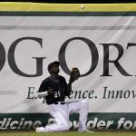Missions left fielder Dwanya Williams-Sutton makes a catch against the fence in the ninth inning on Friday at Wolff Stadium. - photo by Joe Alexander