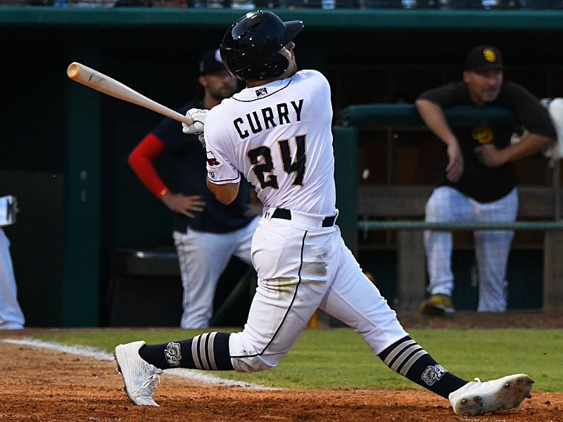 San Antonio Missions outfielder Michael Curry hits a two-run homer in the fifth inning against the Corpus Christi Hooks on Saturday at Wolff Stadium. - photo by Joe Alexander