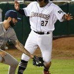The San Antonio Missions' Yorman Rodriguez pulls safely into third after advancing two bases on a back pickoff throw on Saturday at Wolff Stadium. - photo by Joe Alexander