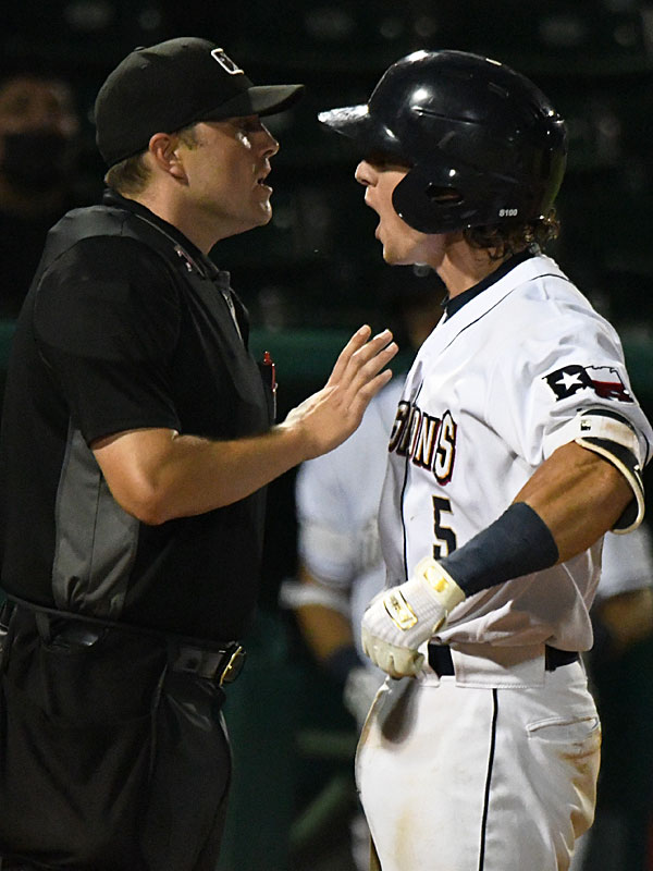 San Antonio Missions catcher Chandler Seagle argues with the home plate umpire in the 10th inning on Tuesday at Wolff Stadium. Seagle was ejected. The San Antonio Missions beat the Amarillo Sod Poodles 5-4. - photo by Joe Alexander