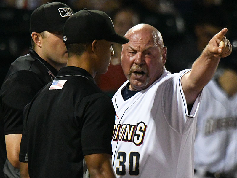 San Antonio Missions manager Phillip Wellman talks to the umpires in the 10th inning on Tuesday at Wolff Stadium. Wellman was ejected. The San Antonio Missions beat the Amarillo Sod Poodles 5-4 on Tuesday at Wolff Stadium. - photo by Joe Alexander