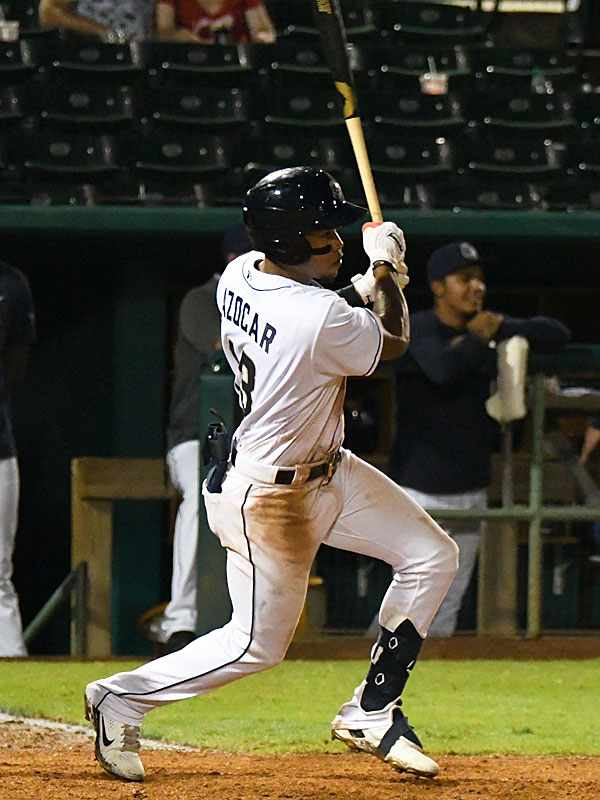 Jose Azocar hits the game-winner with two outs in the bottom of the 10th inning. The San Antonio Missions beat the Amarillo Sod Poodles 5-4 on Tuesday at Wolff Stadium. - photo by Joe Alexander