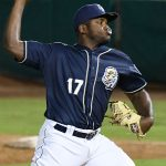 San Antonio Missions reliever Carlos Belen pitched a 1-2-3 eighth inning Wednesday night at Wolff Stadium. - photo by Joe Alexander
