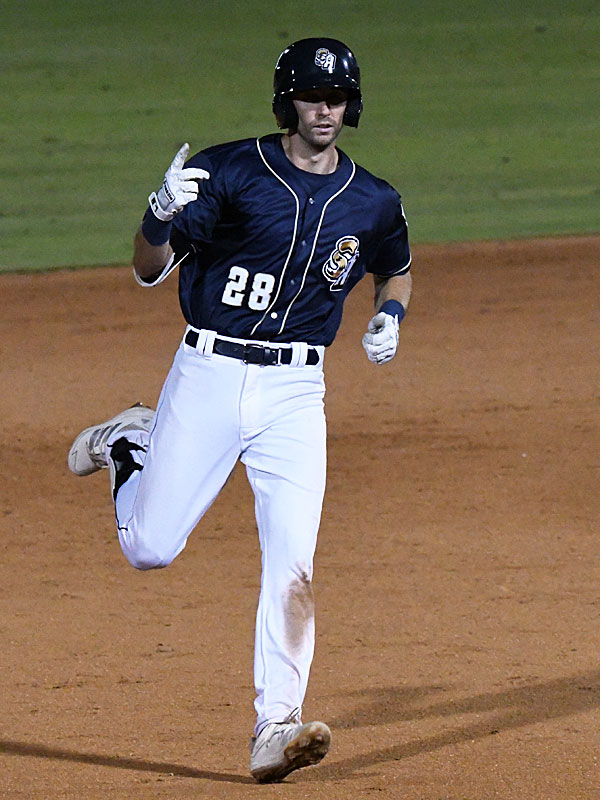 The San Antonio Missions' Ben Ruta rounds second base with a leadoff double in the ninth inning Wednesday night at Wolff Stadium. Ruta scored the run that tied the game. - photo by Joe Alexander