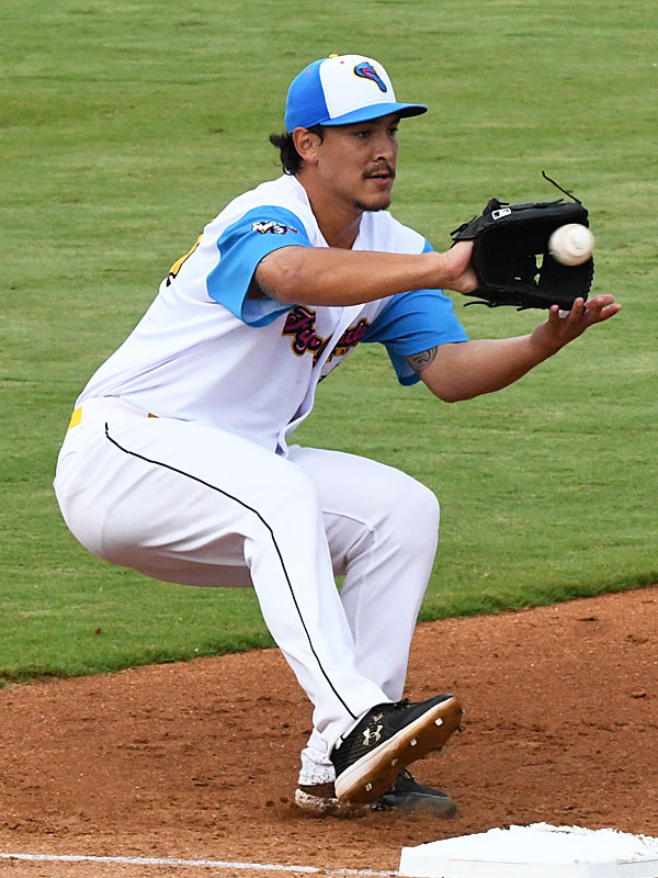 San Antonio Missions starting pitcher Fred Schlichtolz covers first base on a ground ball on the right side against the Amarillo Sod Poodles on Thursday at Wolff Stadium. - photo by Joe Alexander