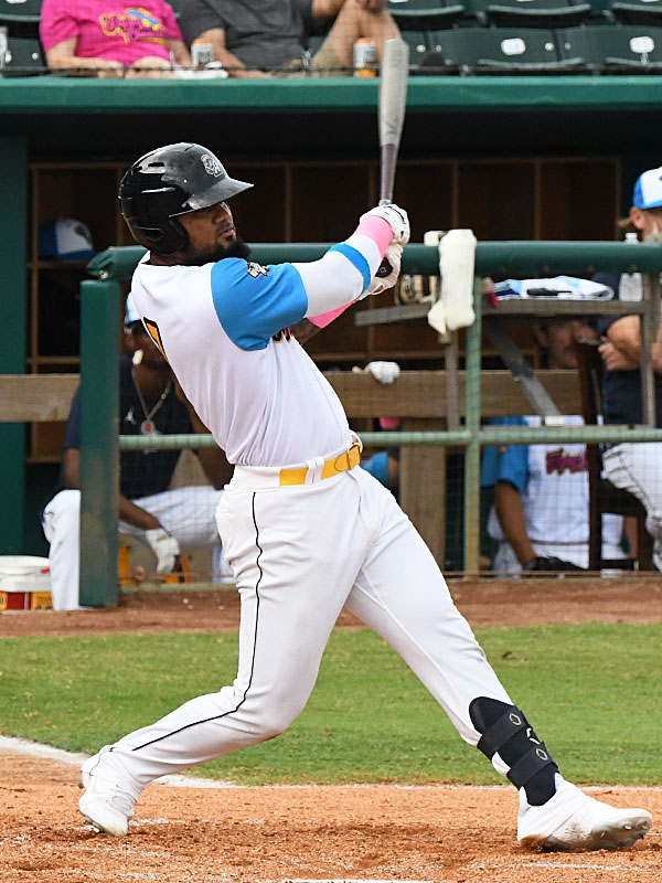 Allen Cordoba hit a two-run homer in the bottom of the first inning for the San Antonio Missions' first runs of the game against the Amarillo Sod Poodles on Thursday at Wolff Stadium. - photo by Joe Alexander