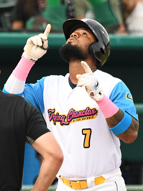 Allen Cordoba celebrates his two-run homer in the bottom of the first inning for the San Antonio Missions' first runs of the game against the Amarillo Sod Poodles on Thursday at Wolff Stadium. - photo by Joe Alexander