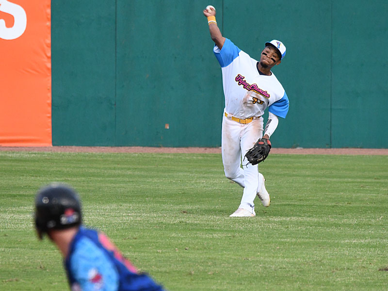 San Antonio Missions center fielder Jose Azocar keeps a base runner from advancing after catching a fly ball against the Amarillo Sod Poodles on Thursday at Wolff Stadium. - photo by Joe Alexander