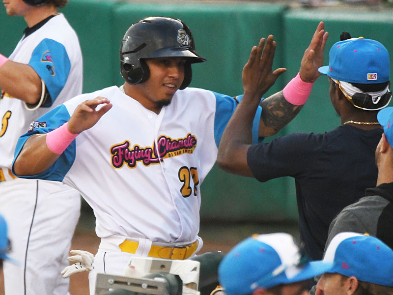 Juan Fernandez celebrates after scoring in the fourth inning to put the San Antonio Missions ahead 3-1 against the Amarillo Sod Poodles on Thursday at Wolff Stadium. - photo by Joe Alexander
