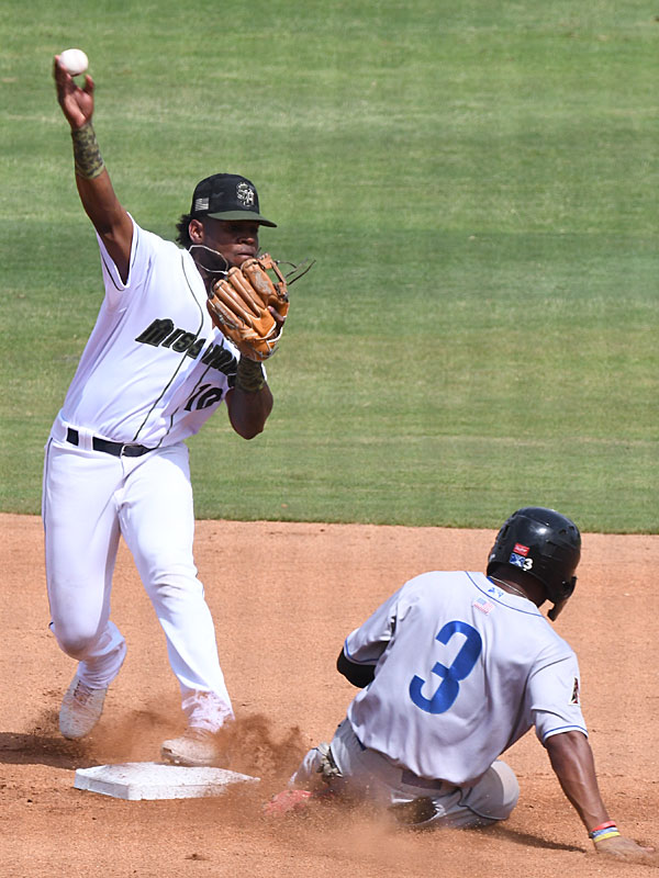 San Antonio Missions second baseman Olivier Basabe turns a double play in a 6-1 victory over the Amarillo Sod Poodles on Sunday at Wolff Stadium. - photo by Joe Alexander