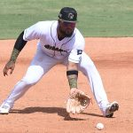 San Antonio Missions third baseman Allen Cordoba fields a ground ball in a 6-1 victory over the Amarillo Sod Poodles on Sunday at Wolff Stadium. - photo by Joe Alexander