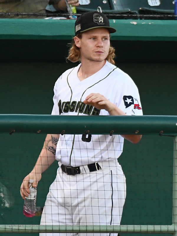 Jack Suwinski watches from the San Antonio Missions dugout during the fifth inning of Sunday's loss to the Springfield Cardinals. There were reports that Suwinski will be part of a trade between the San Diego Padres and Pittsburgh Pirates. - photo by Joe Alexander