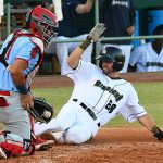 The San Antonio Missions' Ben Ruta slides into home ahead of the tag in the fifth inning on Sunday at Wolff Stadium. - photo by Joe Alexander