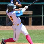 The Flying Chanclas' Marcos Villegas bats in the Texas Collegiate League championship game Saturday, Aug. 7, 2021, at Wolff Stadium. - photo by Joe Alexander