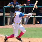 The Flying Chanclas' Rody Barker drives in the first run of the game in the fifth inning in the Texas Collegiate League championship game Saturday, Aug. 7, 2021, at Wolff Stadium. - photo by Joe Alexander
