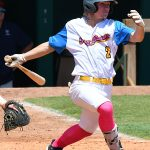 The Flying Chanclas' Cole Modgling drives in a run in the sixth inning in the Texas Collegiate League championship game Saturday, Aug. 7, 2021, at Wolff Stadium. - photo by Joe Alexander