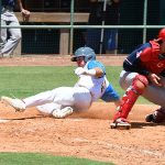 The Flying Chanclas' Zac Vooletich scores on a sacrifice fly in the sixth inning in the Texas Collegiate League championship game Saturday, Aug. 7, 2021, at Wolff Stadium. - photo by Joe Alexander