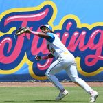 The Flying Chanclas' Ian Bailey catches a fly ball in left field in the Texas Collegiate League championship game Saturday, Aug. 7, 2021, at Wolff Stadium. - photo by Joe Alexander