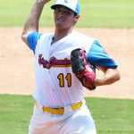 The Flying Chanclas' Evan Maldonado pitches in the ninth inning of the Texas Collegiate League championship game Saturday, Aug. 7, 2021, at Wolff Stadium. - photo by Joe Alexander
