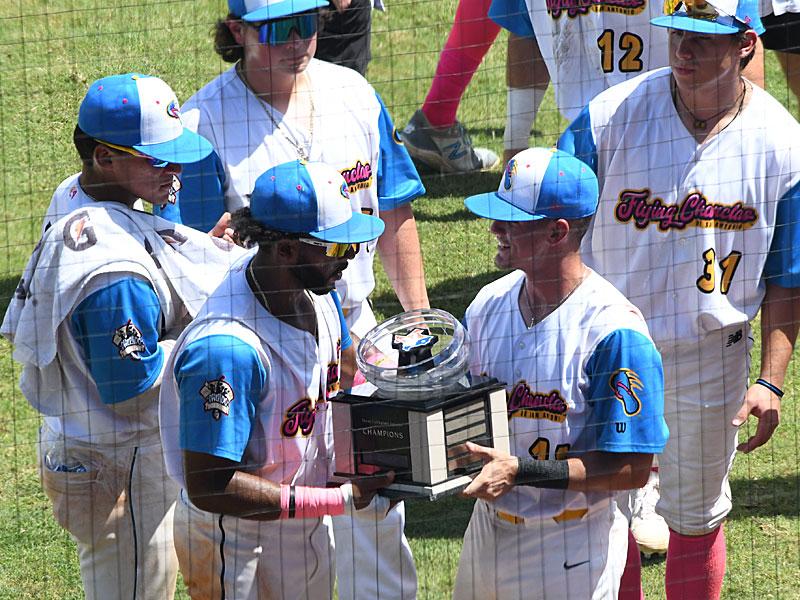 The Flying Chanclas de San Antonio with the Texas Collegiate League championship trophy. - photo by Joe Alexander